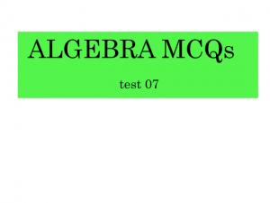 algebra mcqs test